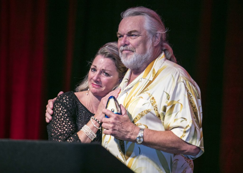 An emotional moment for Deb Smith as her husband Walt, recipient of the 2018 MASNA Pioneer Award for Industry, is completely surprised by the honor and left nearly speechless the night of September 8th, 2018, at MACNA in Las Vegas, NV.