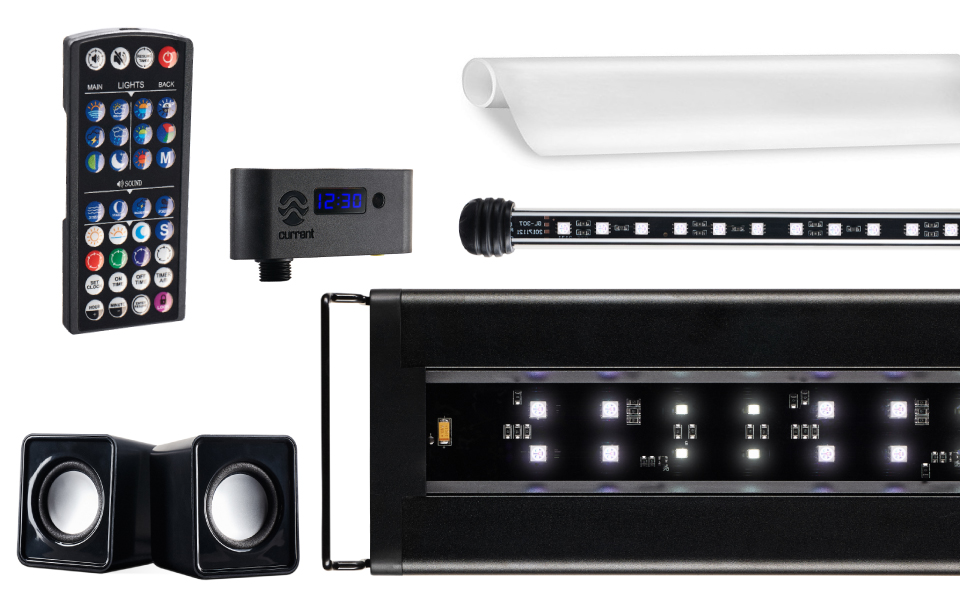 Everything comes included with Current USA's new Serene LED aquarium lighting system.