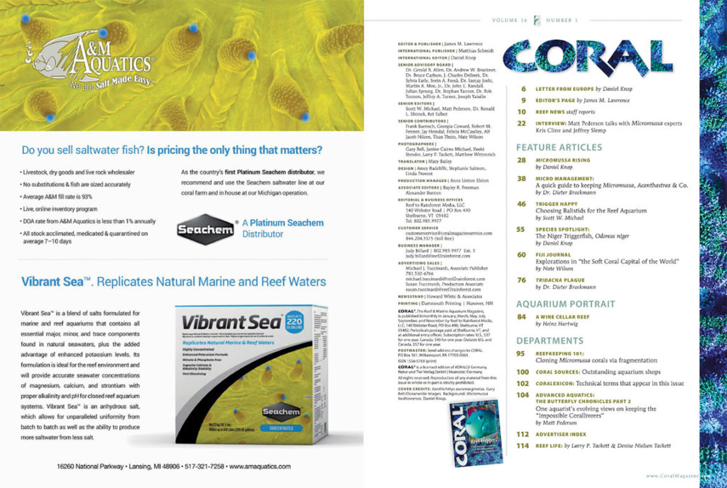 The Table of Contents for the January/February 2019 issue of CORAL Magazine. You can view this TOC online.