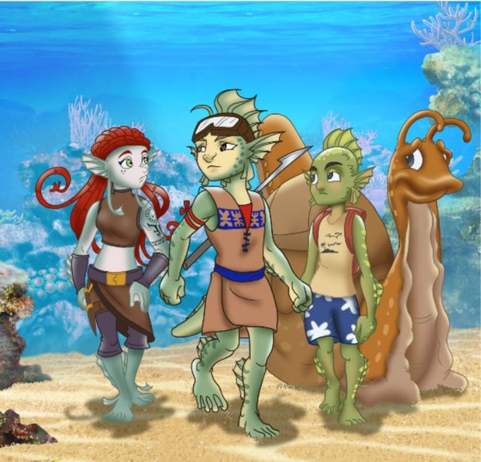 Heidi, Seeker and Simeon, the three heroes of the Bula Buddies childrens book series from coral reef conservationist and author Walt Smith.