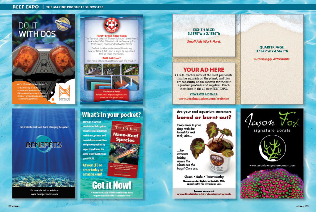 CORAL Magazine's new Reef Expo is a place for advertisers to showcase new offerings of products, livestock, supplies, and more! Want to reach the most passionate marine aquarists on the planet? Ask us how!