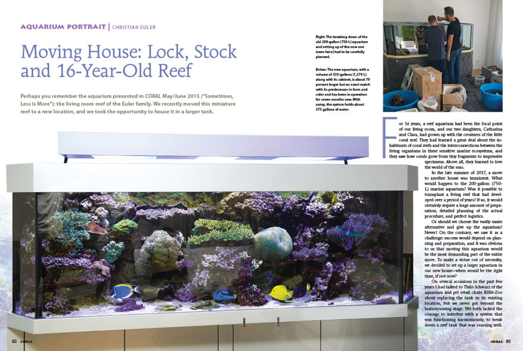 Four years ago, we featured the home aquarium of Christian Euler. In our latest AQUARIUM PORTRAIT, we revisit Euler's reef aquarium following the transfer and upgrade into a larger aquarium in a new home! If you ever think a move, or an upgrade, is in your future, Euler's insights might be critical for your own success.