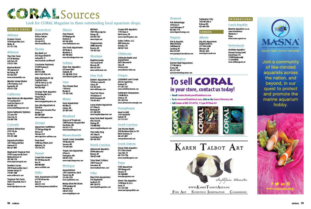 Check out the very best local fish shops around the county in our Sources directory. If they're smart enough to carry CORAL Magazine in their shops, you know they value the same things that make you a CORAL reader! Bookmark the online list and use it to plan your next fish shop road trip!