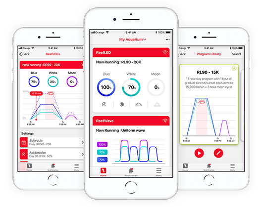 Red Sea's ReefBeat app boasts one interface for all of Red Sea's smart devices, easy set-up and operation, and on-line monitoring and notifications.
