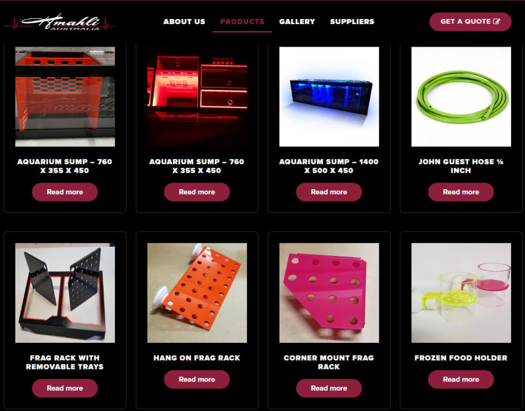 A sampling of Hmahli's extensive range of acrylic aquarium products as seen on their website.