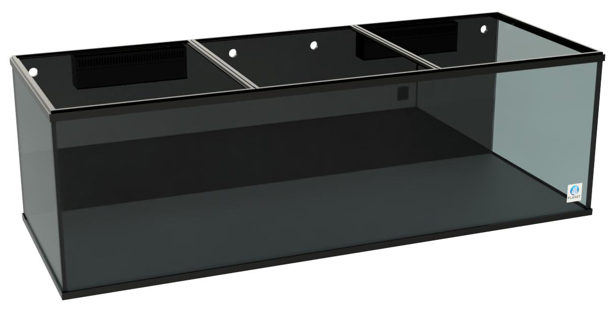 A MEGA Matrix 450 gallon aquarium by Planet Aquariums with black background, black silicone and external overflows.