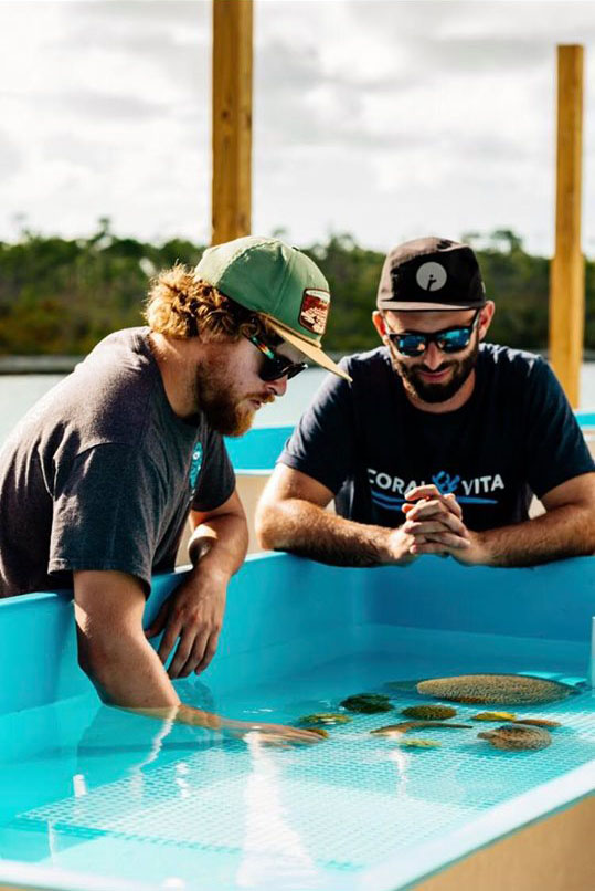 Founders Gator Halpern (left) and Sam Teicher at Coral Vita, Grand Bahamas. Image courtesy Coral Vita