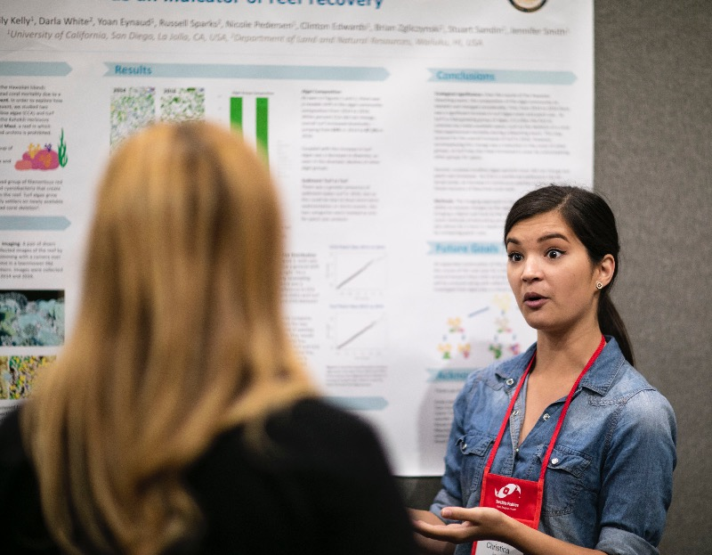 Christina Jayne, discussing her research at the MACNA 2018 Scientific Poster Session.