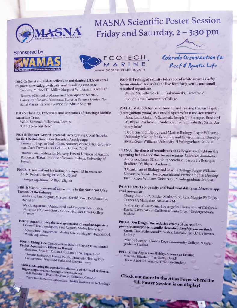 An example of poster sessions from past MACNAs; 2016's session list shown hear. Scientific posters present information in a standardized format and allow visitors to interact with the researchers responsible for the work.
