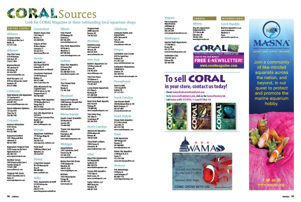 Look to the finest aquarium retailers as your source for current and hard-to-find back issues of CORAL Magazine!