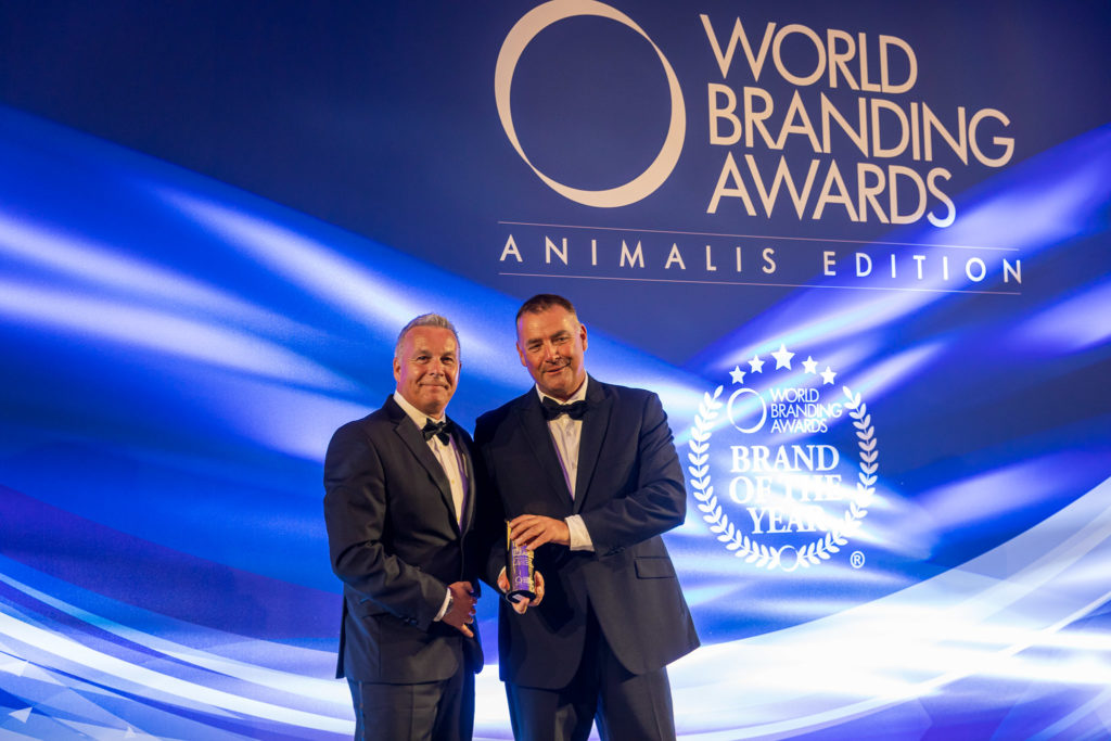 Hagen UK General Manager Adrian Burgess (left) accepts Brand of the Year Award on behalf of Fluval