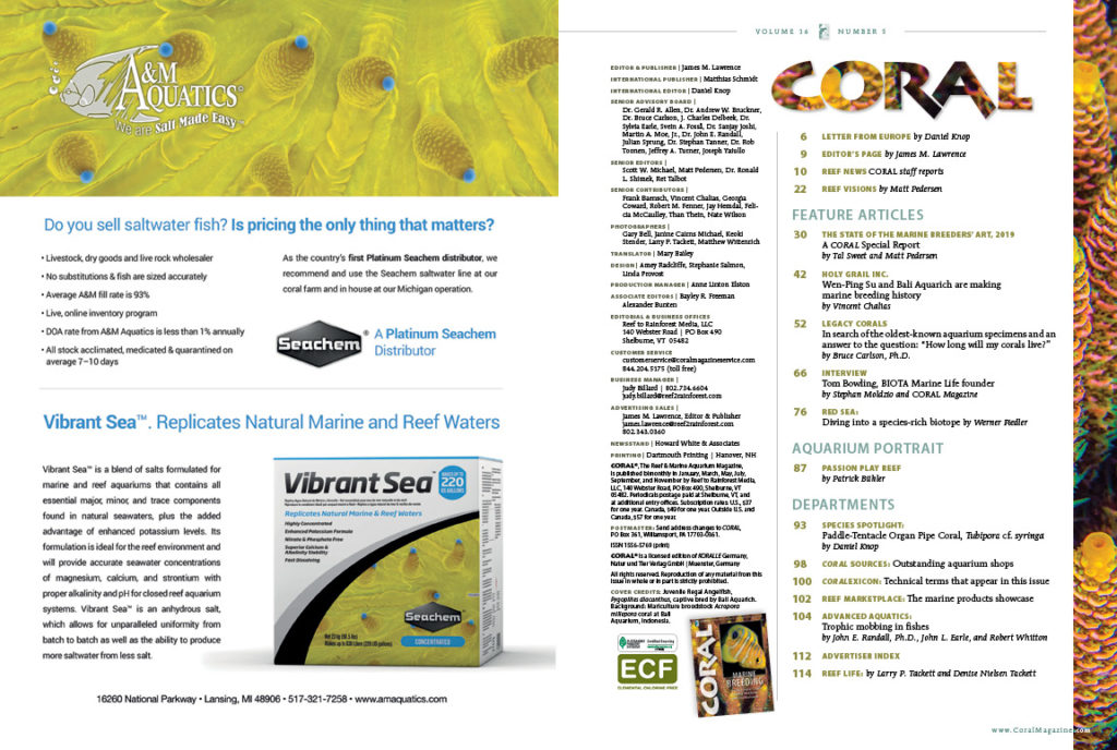 The Table of Contents for the September/October 2019 issue of CORAL Magazine. You can view this TOC online.
