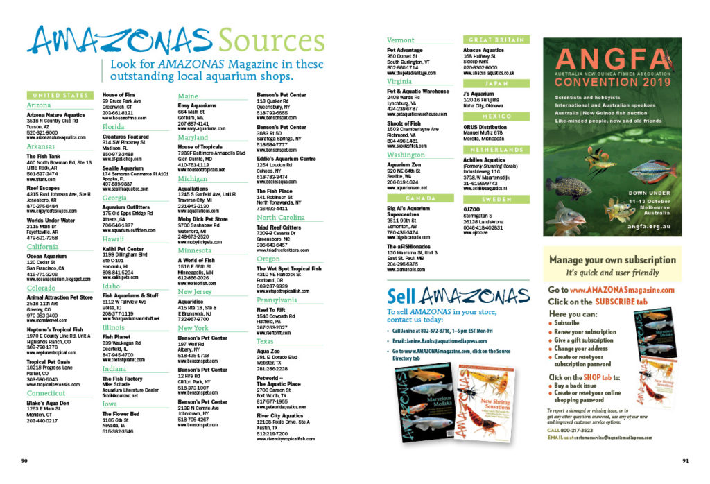 Look for AMAZONAS Magazine in outstanding local aquarium shops throughout the U.S. and around the globe! You can find these retailers in our online sources guide anytime! Want your shop listed? Email janine.banks@aquaticmediapress.com to find out how!