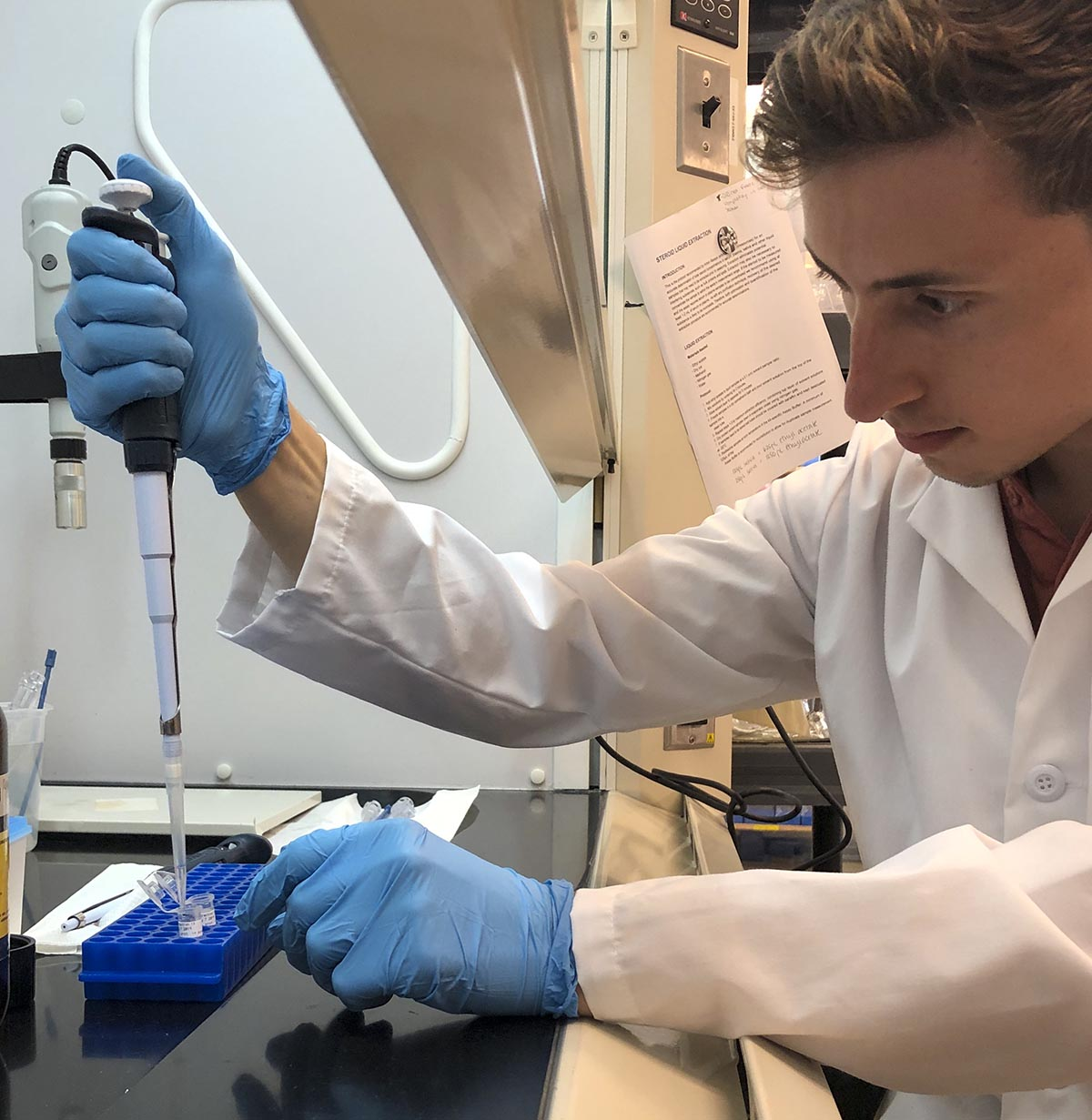 Alex Bonanno, Graduate Student Scholarship recipient, working on cyanide detection testing.