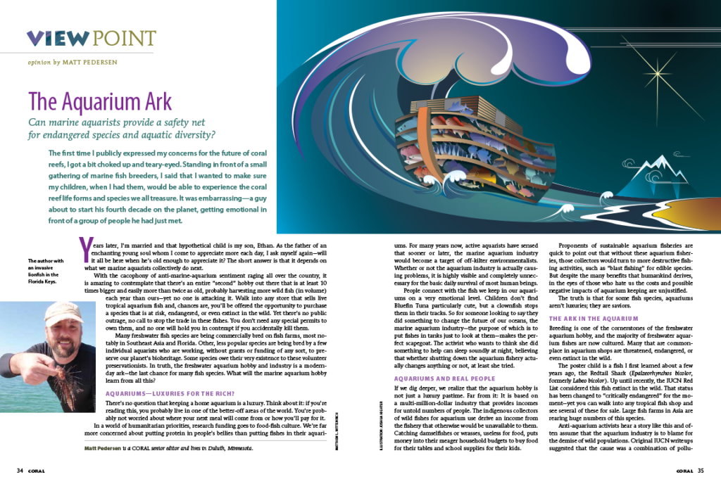 The Aquarium Ark, by Matt Pedersen, originally published in the May/June 2012 issue of CORAL Magazine.
