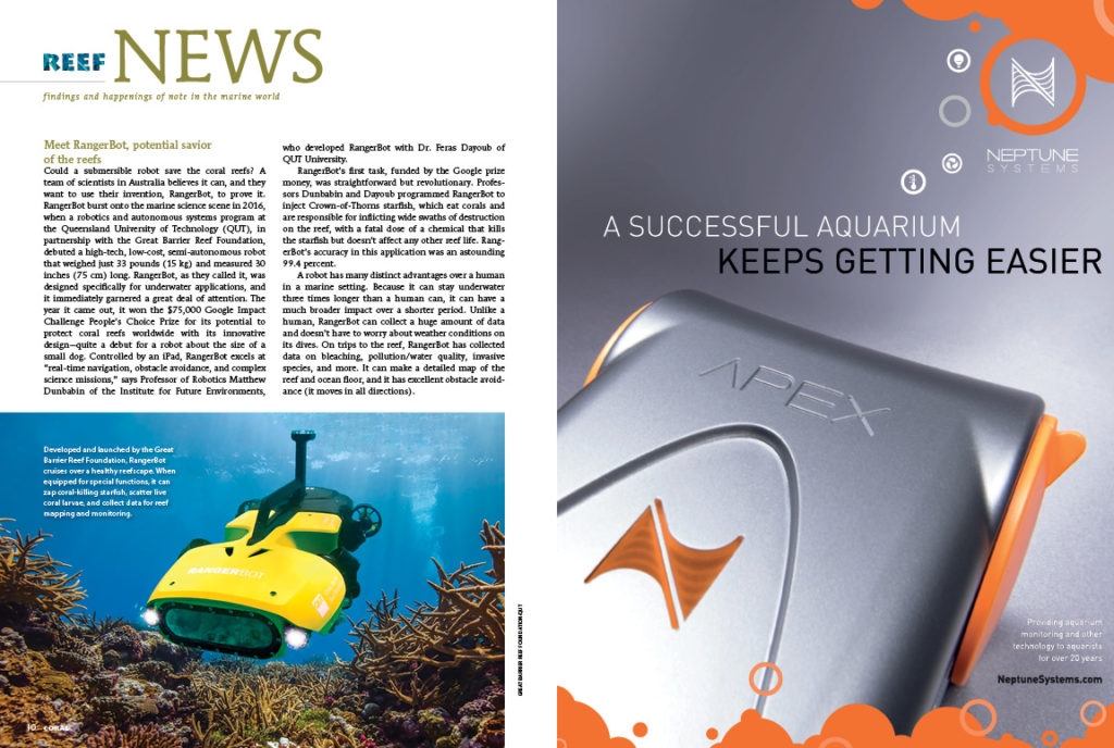 Reef News presents, findings and happenings of note in the marine world. In this issue: RangerBot, nitrogen runoff as significant reef killer, and clownfish as a model animal for aging research.