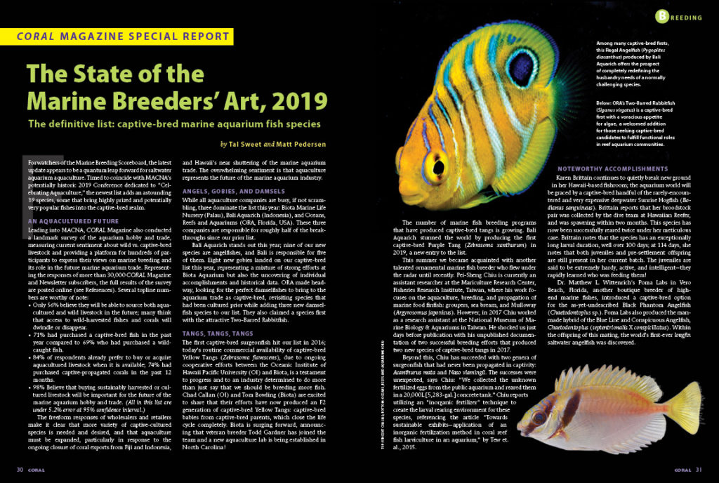Tal Sweet and Matt Pedersen present the latest captive-bred marine fish species list, just shy of 400 species now! This list, and all prior, can be found through our captive-bred marine aquarium fish list project homepage at https://www.reef2rainforest.com/coral-magazines-captive-bred-marine-aquarium-fish-list-project-homepage/