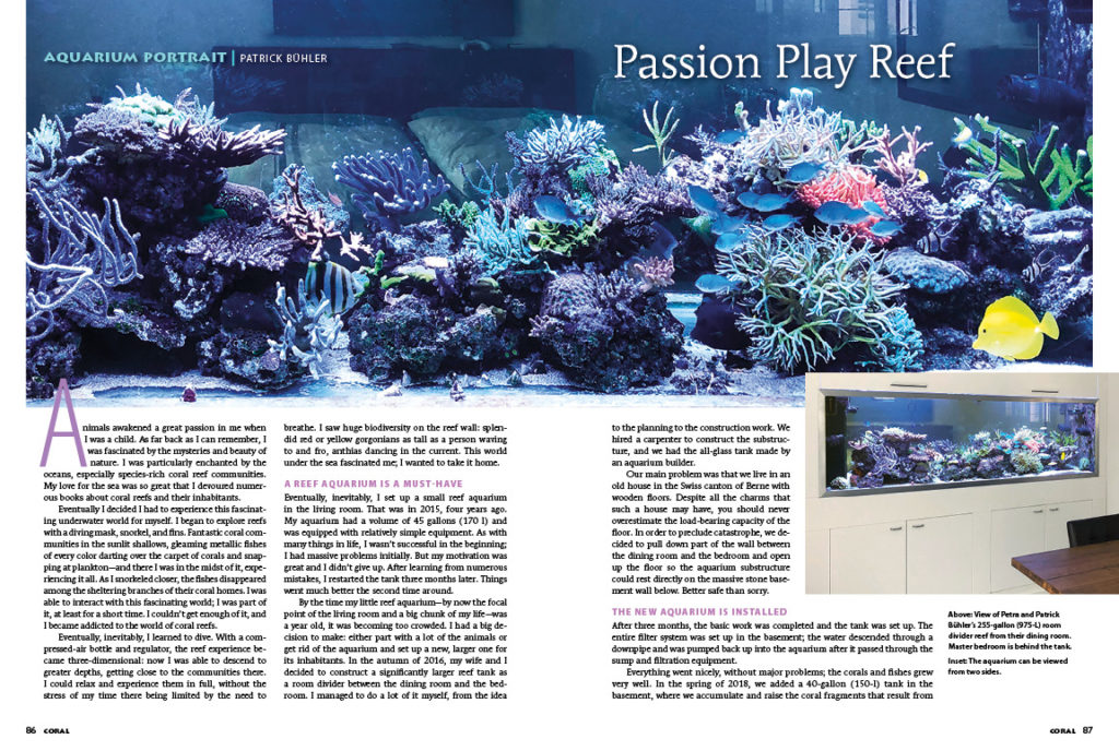 "A view of Petra and Patrick Bühler's 255-gallon (975-L) room divider reef from their dining room; learn more in our Aquarium Portrait, ""Passion Play Reef""."