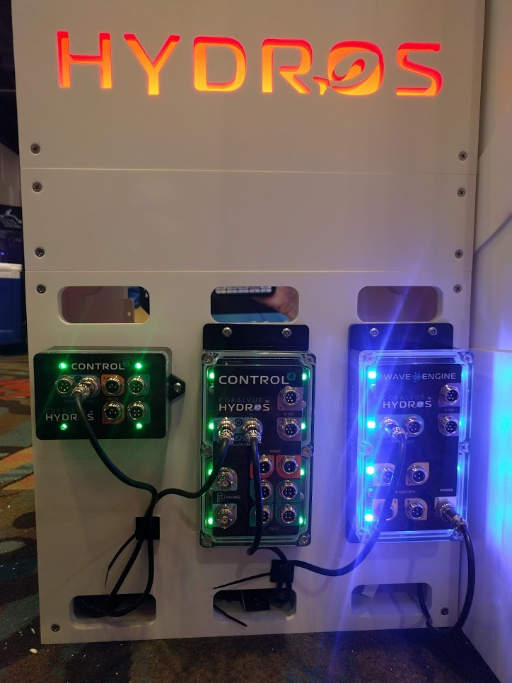A range of HYDROS aquarium controllers on display at MACNA 2019