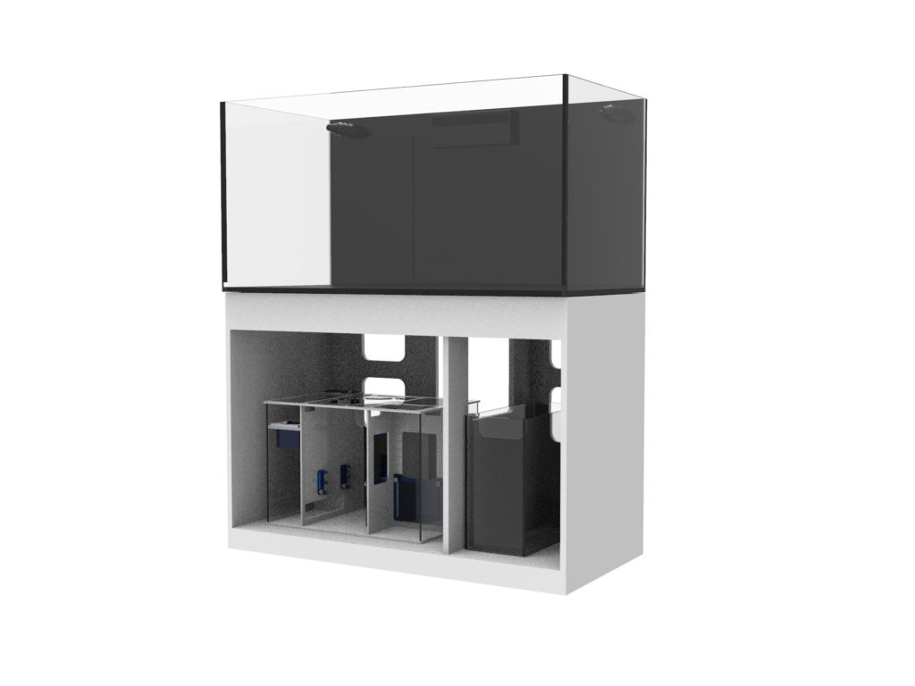 An example of the new line: the Fiji Cube 108 Gallon Rimless Glass Tank with External Overflow + Stand + Sump + Water Reservoir.