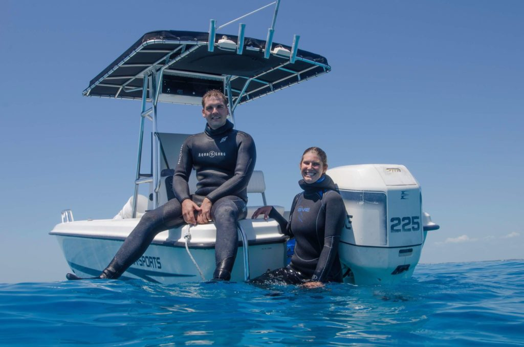 Philipp and Kara Rauch, proprietors of KP Aquatics, one of a very limited number of Florida marine life collectors responsible for bringing our native tropical marine fish and corals into the aquarium trade. Image courtesy Lois Hatcher.