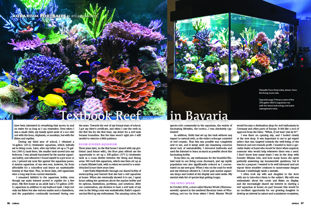 Roland Wagner's textbook 250-gallon room divider reef in Bavaria is our feature in this issue's Aquarium Portrait.