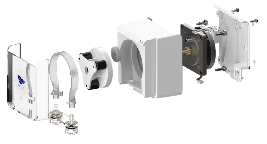 An exploded view of the VX-1 Versa peristaltic pump.
