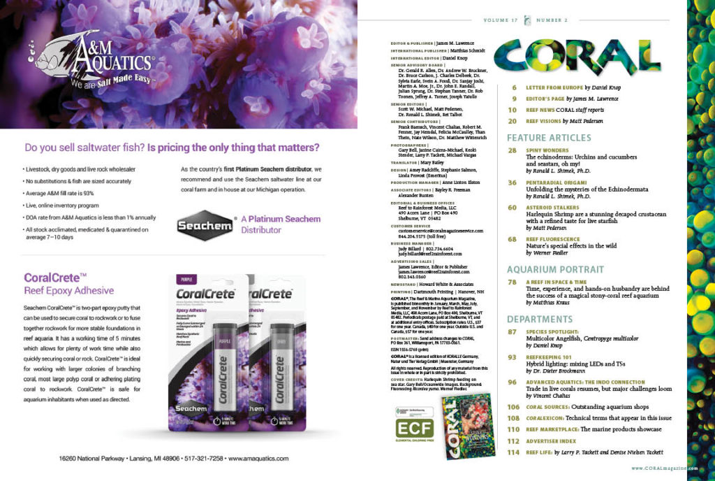 Table of Contents for the March/April 2020 issue of CORAL Magazine. You can view this TOC online.