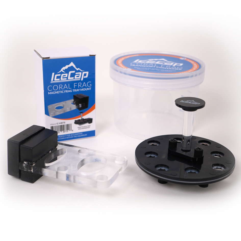 IceCap's new 8-plug Coral Frag Transport Container and optional magnetic mount for use beyond simply transporting corals.