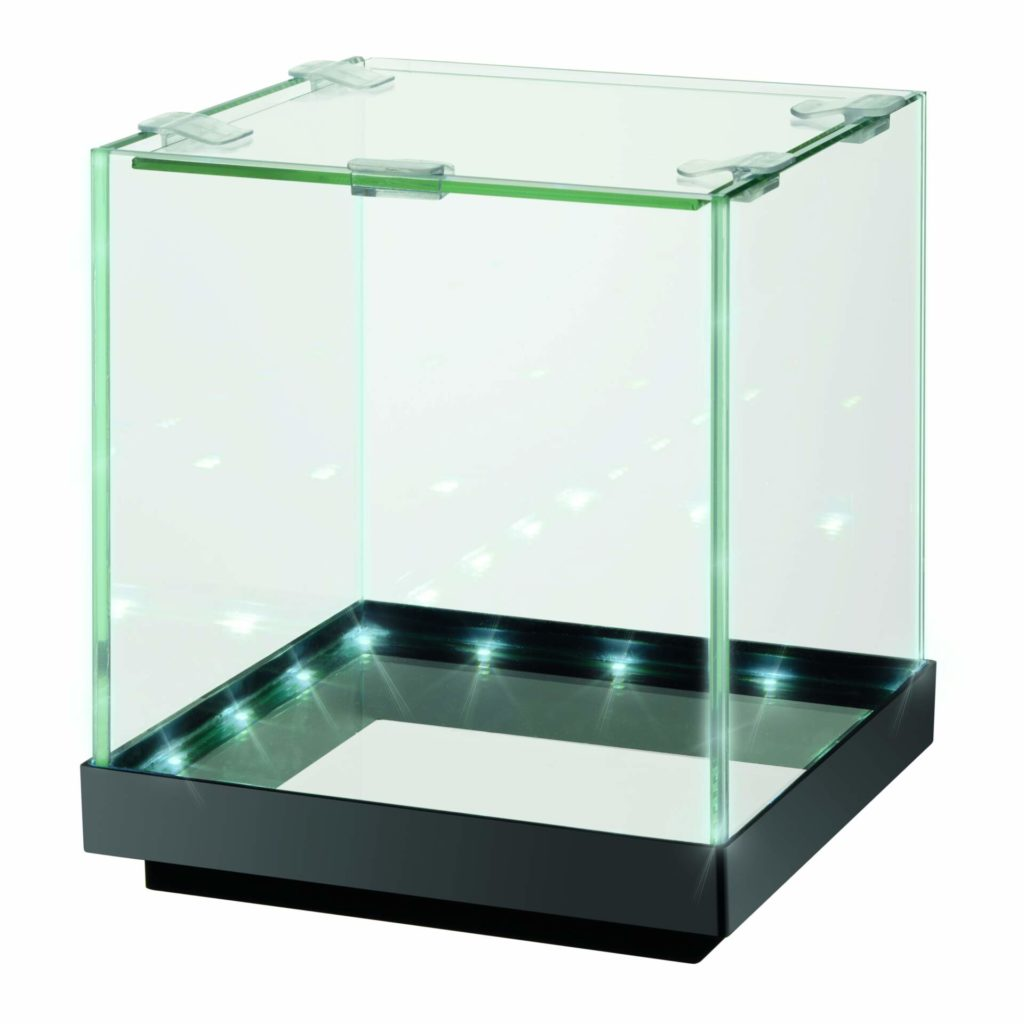 This empty Edgelit aquarium illustrates how the visual effect is achieved.