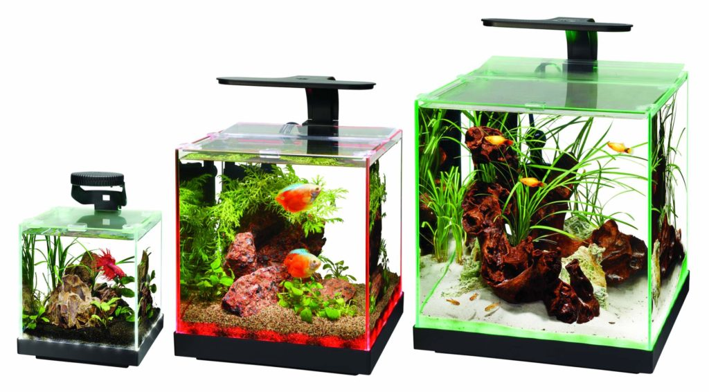 Aqueons' Edgelit rimless cube tank family includes the Edgelit 1, 3, and 6. Overhead lighting, heating, and filtration, are not included with these aquariums and should be purchased separately.