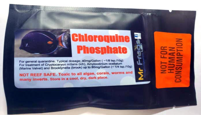 "An example of chloroquine phosphate, sold by Mr Frags and clearly marked ""Not For Human Consumption"", sold in a powder form to medicate marine fish suffering from various parasitic infections. As of 3/27/2020, search results suggest that 10 grams of the medication were retailing for $54.99 through this vendor, although it appears this and other mentions of the offering have been <a href=""https://mrfrags.com/product/chloroquine10/"" target=""_blank"" rel=""noopener noreferrer"">removed from the retailer's website</a> and social media pages."