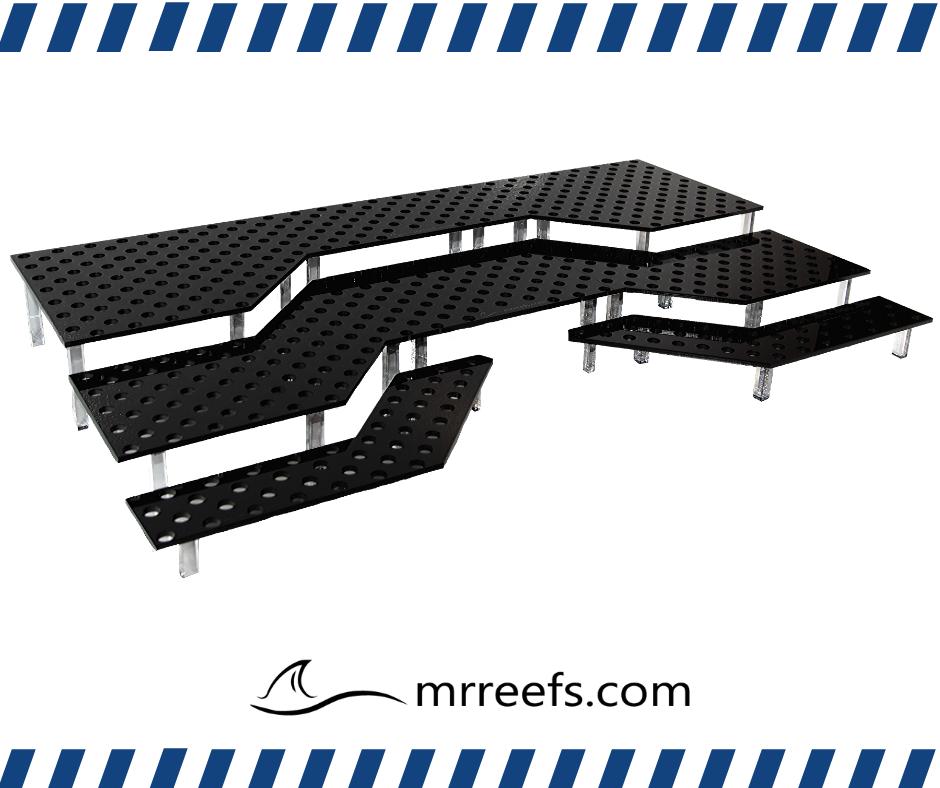 A look at the fully assembled multi-tier Frag Show Frag Rack from MRReefs.