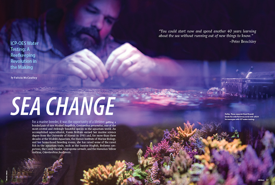 SEA CHANGE, by Felicia McCaulley, ignites our comprehensive analysis of ICP-OES water testing in the reef aquarium hobby. What is ICP-OES? Where did it come from? These and many other questions will be answered in the pages that follow.