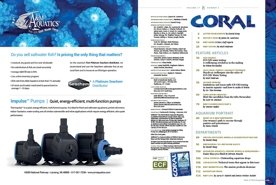 Table of Contents for the May/June 2020 issue of CORAL Magazine. You can view this TOC online.
