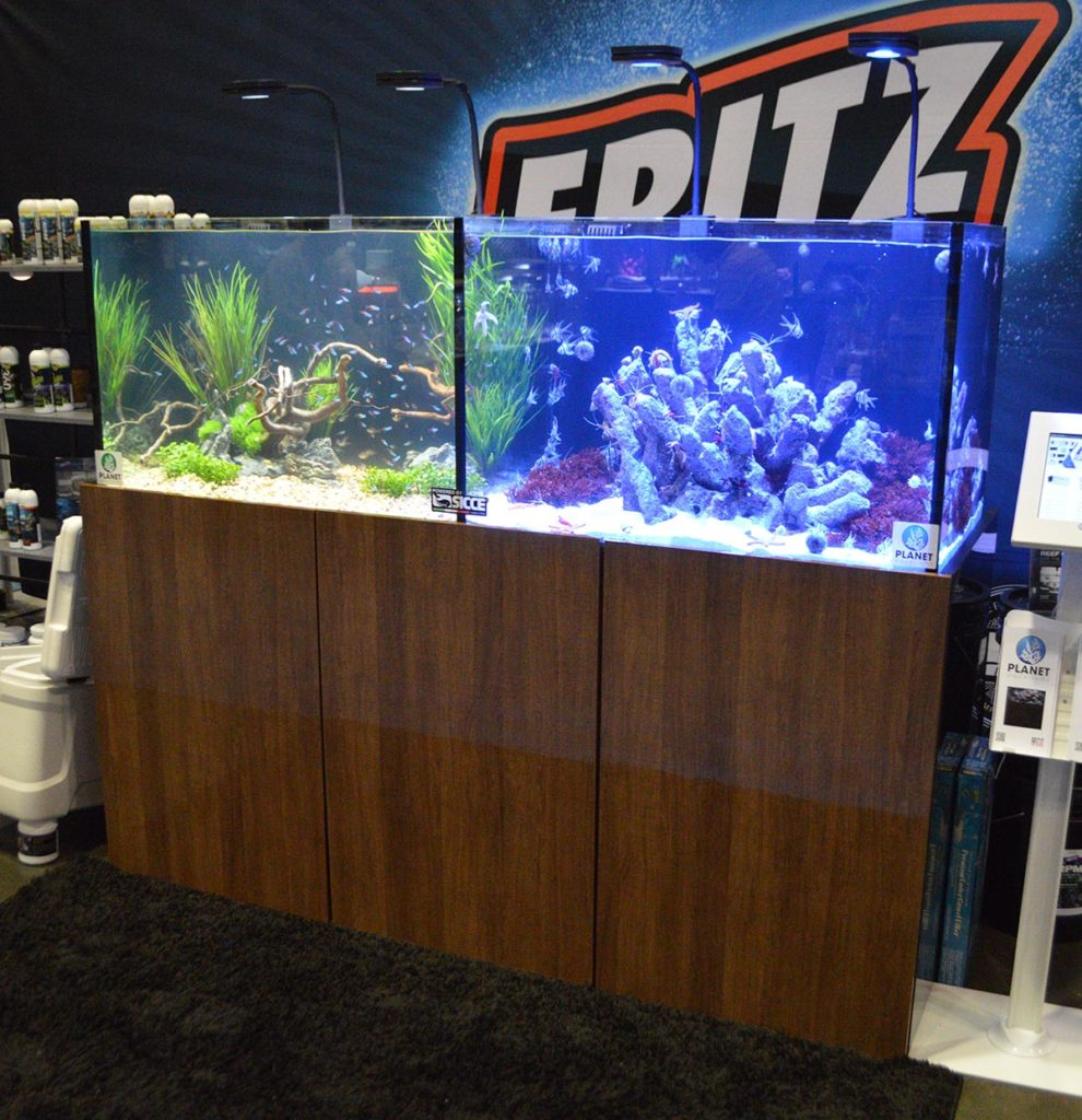 The Fritz Aquatics display showcased a twin freshwater and saltwater setup.