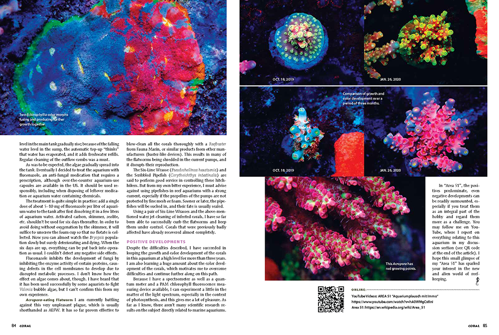 Immo Gerber's Aquarium Portrait article in the current issue of CORAL.