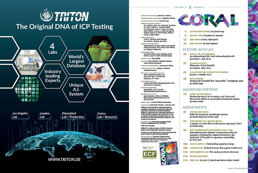 Table of Contents for the July/August 2020 issue of CORAL Magazine. You can view this TOC online.