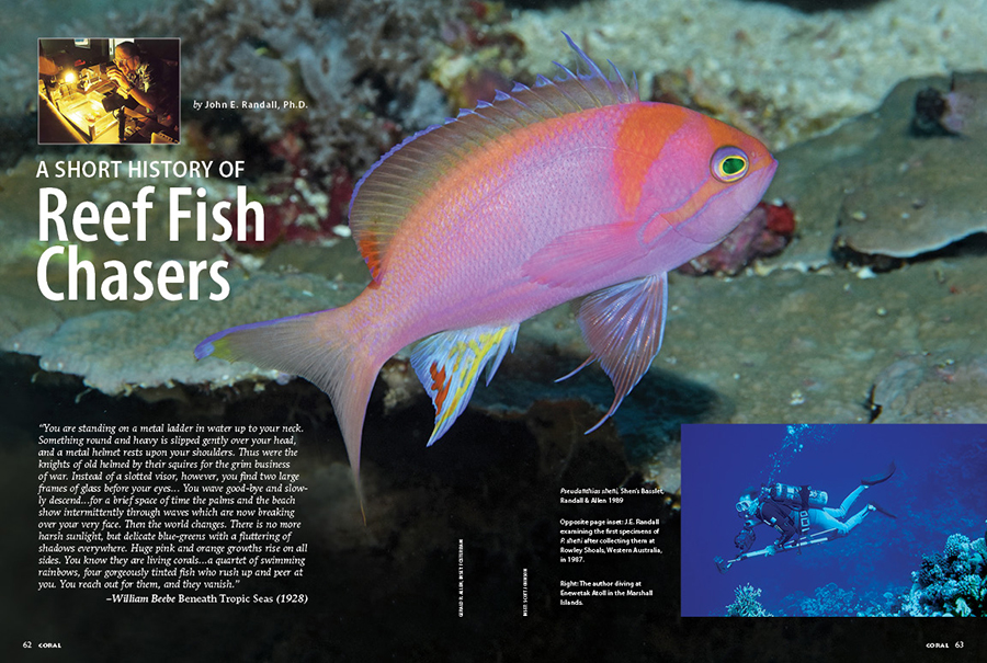 Words from Jack Randall himself: A Short History of Reef Fish Chasers, excerpted from the foreword to Reef Fishes Volume 1 by Scott W. Michael, and written in 1998.