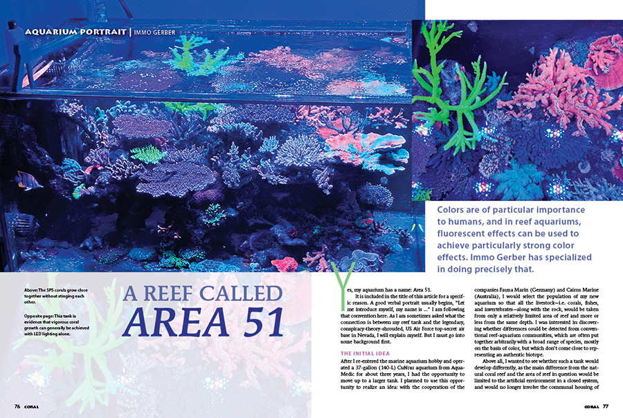 Our Aquarium Portrait features a reef aquarium called Area 51 by its creator, aquarist Immo Gerber. Formerly clouded in a veil of secrecy, learn what's really going on to cause an otherworldly amount of coral fluorescence in this heart-stopping reef tank.