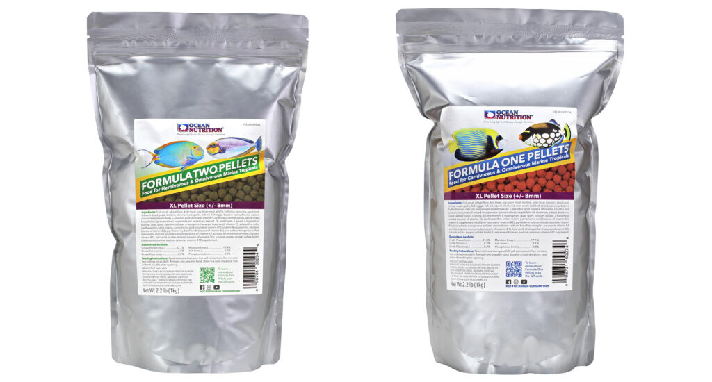 """New Formula One and Formula Two Extra Large (XL) Pellets are available for fishes 12"""" (25 cm) and larger."""