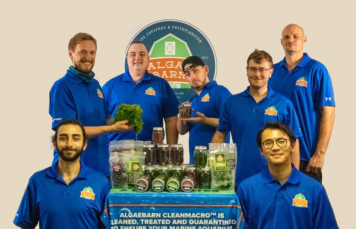 The Algae Barn team in their Colorado headquarters. Clockwise from bottom left: Sean Tadjerean, Michael Allen, Greg Chernoff, Robby Vice, Jared Green, Ryan Phillipsborn, Ye Lu