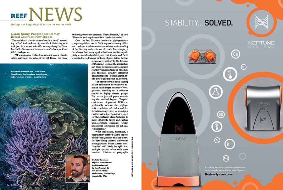 Reef News presents findings and happenings of note in the marine world. In this issue: Project Phoenix May Reveal Countless New Species, Nature's Marine Meadows Get a Closer Look, and A Head-Turning Aussie Rarity is On Display at the Birch Aquarium at Scripps.