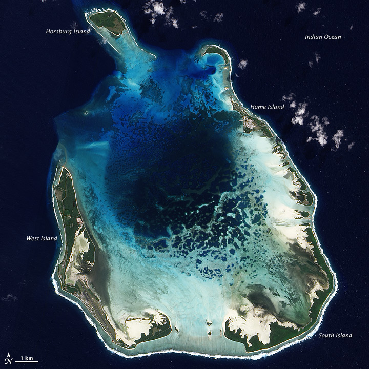 South Keeling Island, one of 27 atolls in the Indian Ocean's Cocos Islands, as seen from NASA's Earth Observing-1 satellite on July 31, 2009. Image credit: NOAA.
