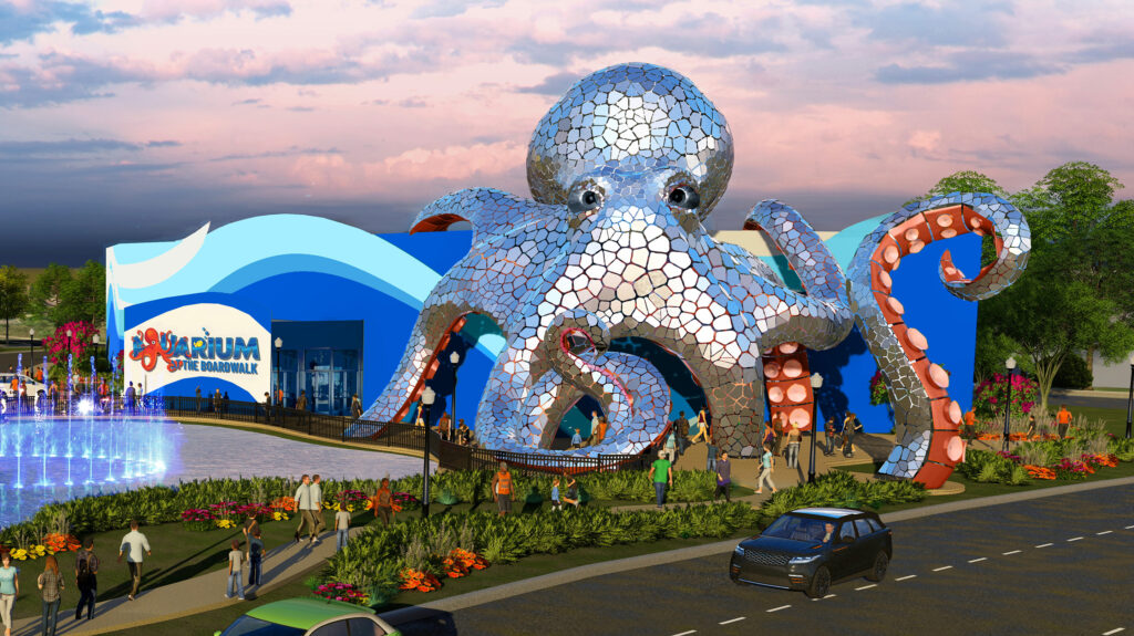 Branson's new Aquarium at the Boardwalk promises something spectacular from the moment you walk up, as this exterior rendering demonstrates. The actual 55-foot tall stainless steel sculpture of Aquarius the Octopus is currently being completed right now in early December; we'll update with photos as soon as they become available!