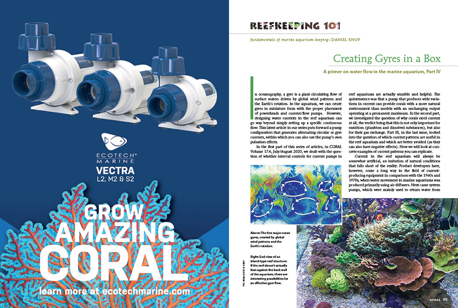 Creating Gyres in a Box, by Daniel Knop, is the fourth installment in our ongoing primer on water flow in the marine aquarium, as featured in the Reefkeeping 101 section of CORAL Magazine.