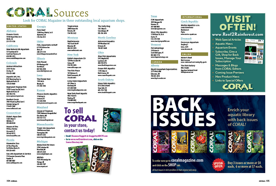 Looking for CORAL? Find current and hard-to-find back issues from these wonderful independent aquarium retailers! You can find our current sources in each issue, as well as online!