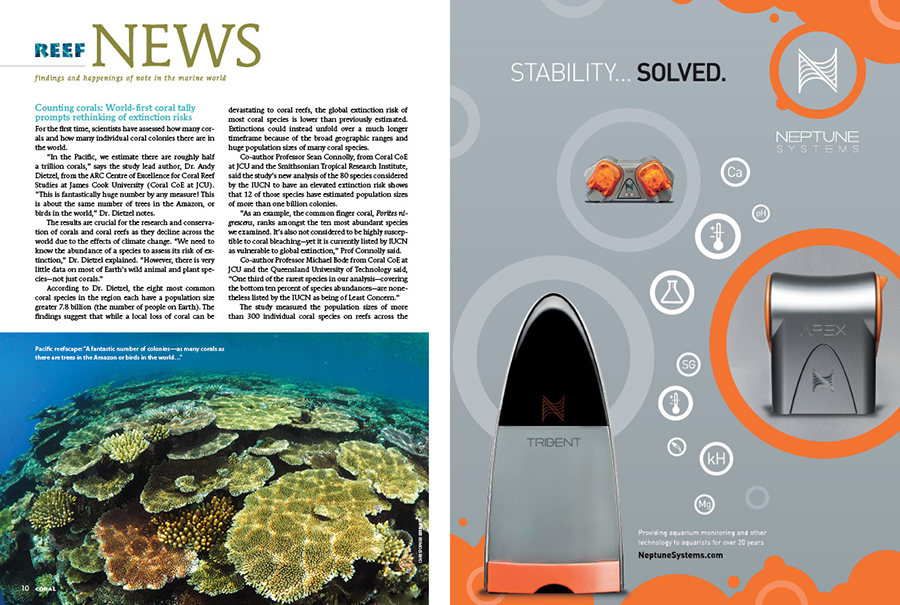 """REEF NEWS presents findings and happenings of note in the marine world. In this issue: Counting corals: World-first coral tally prompts rethinking of extinction risks, Ancient aggressor: Teeth used to trace origins of the Tiger Shark, and Octopus arms as models for next generations of """"soft"""" robots."""