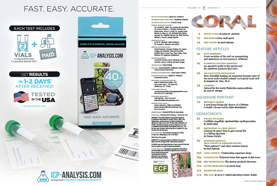 Table of Contents for the May/June 2021 issue of CORAL Magazine. You can view this TOC online.
