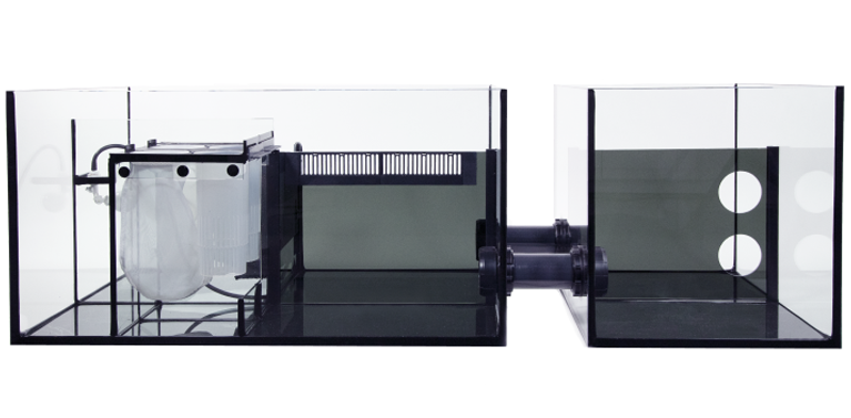 The REEFER-S models come with the unique split-sump system. The main sump is refugium-ready, and has an adjustable-height skimmer chamber, micron filter bags and media cups. The extension sump can be used for a dedicated frag tank, a larger refugium, or simply for extra filtration.